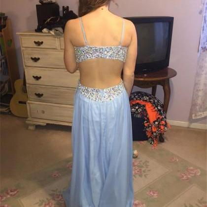 Spaghetti Straps Prom Dress,Beading..