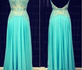 Open Back Prom dresses, Backless Prom dresses, Blue Prom Dress, Backless Evening Dresses, A Line Evening Dresses