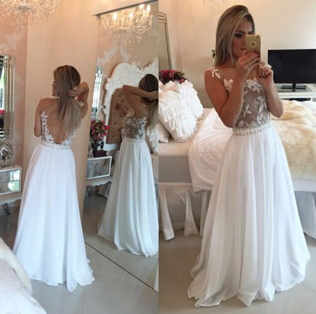 Lace White Prom Dress White Backless Prom Dress Backless