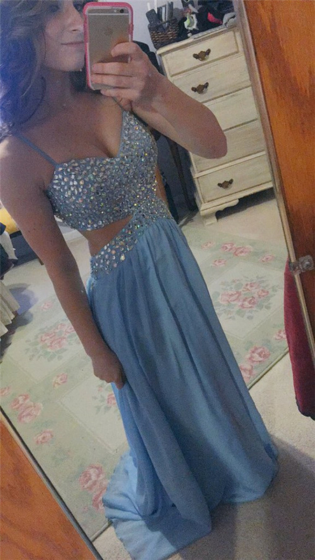 Spaghetti Straps Prom Dress,Beading Prom Dresses,Long Evening Dress
