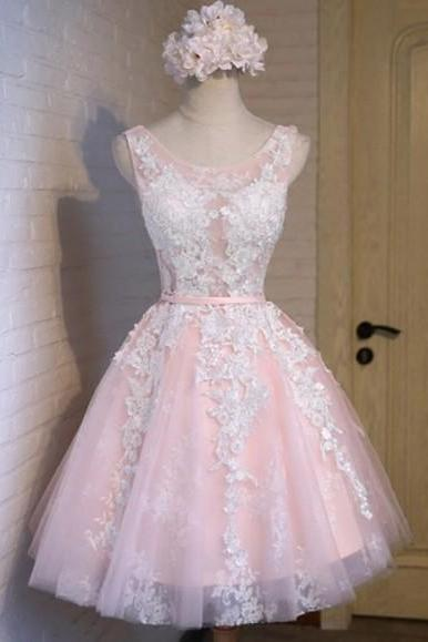 Pink A-line Appliques Tulle Homecoming Dresses, Lace Up Cute Dress
