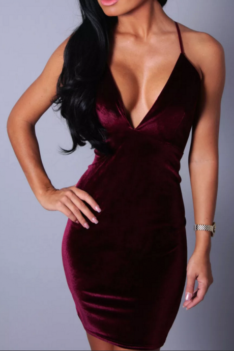 Burgundy Velvet Spaghetti Straps Plunge V Short Bodycon Dress Featuring Criss-Cross Open Back