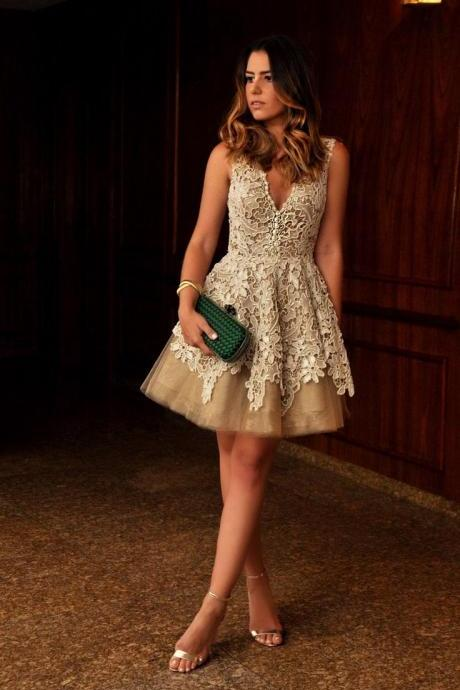 Champagne Lace Tulle Homecoming Dresses, Deep V Neck Short Homecoming Dress