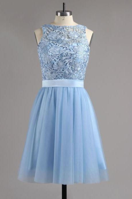 Light Blue Lace Appliques Homecoming Dress with Sash