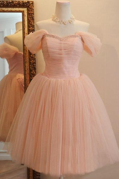 Noble Off the Shoulder Pink Homecoming Dress