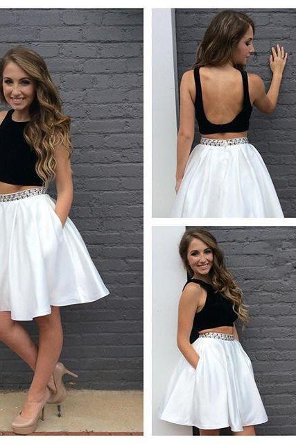 Two Piece Simple Homecoming Dress, Beading Homecoming Dress