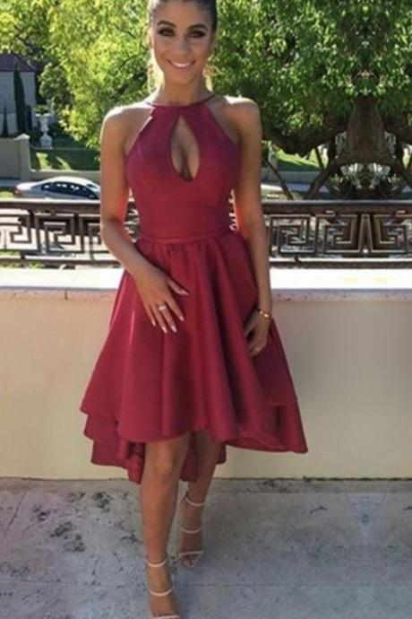 Burgundy Sexy Halter High Low Homecoming Dress