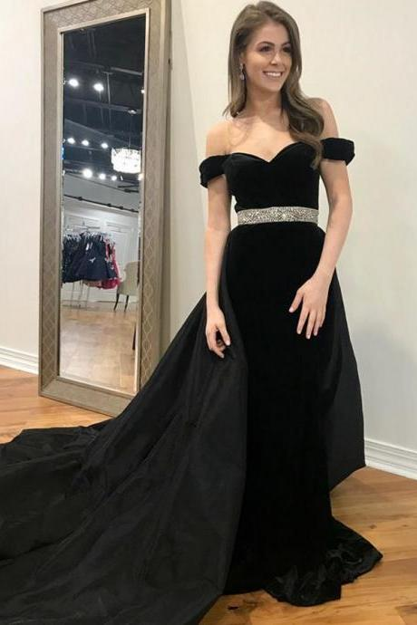 Off Shoulder Bead Waist Black Prom Dresses Evening Dresses