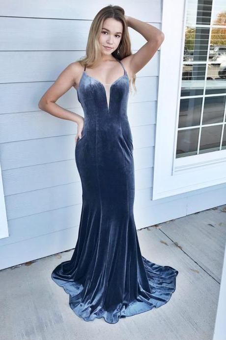 Spaghetti Straps Halter Velvet Prom Dresses Backless Evening Dresses