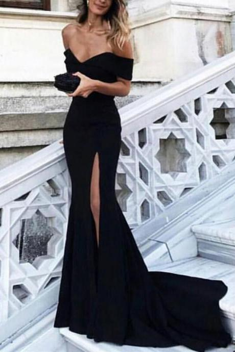 Long Mermaid Prom Dress Off Shoulder Evening Dress with Leg Slit