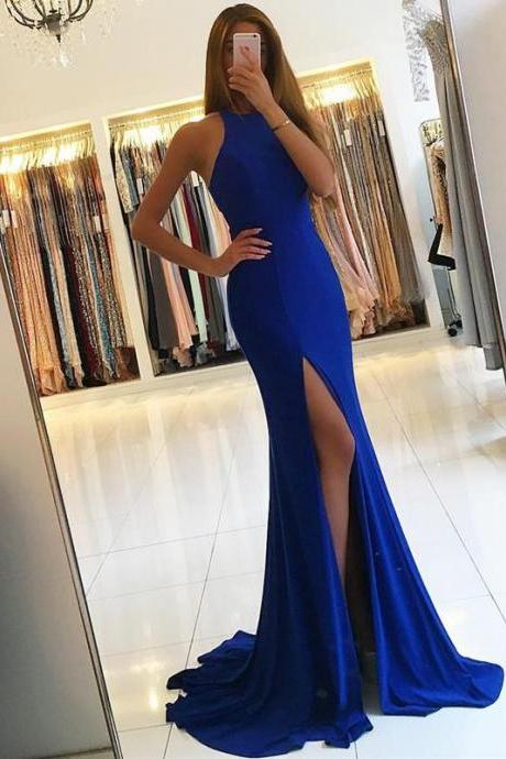 Long Jersey Halter Slit Prom Dresses Evening Formal Dress