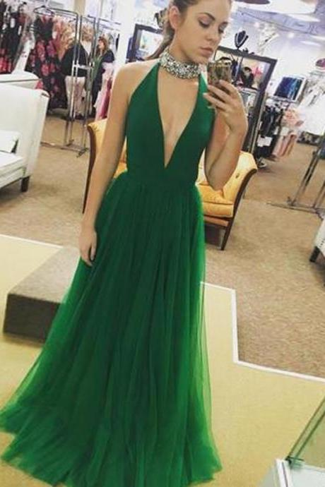 Long Prom Dress A Line Simple Green Evening Dresses