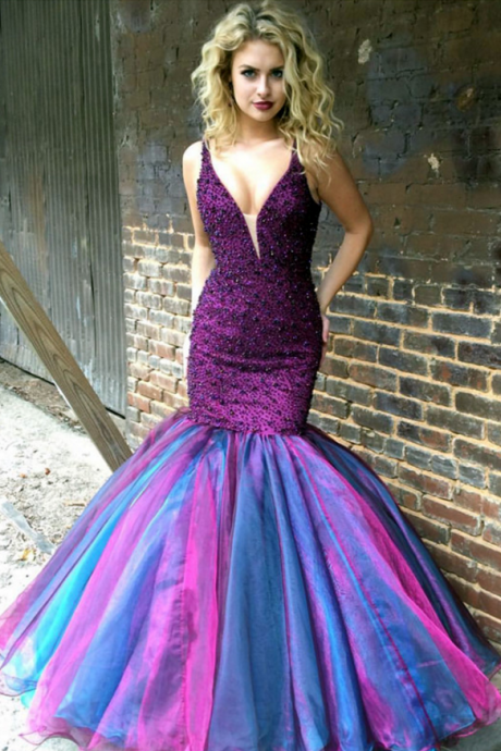 Mermaid Prom Dress Purple Evening Ombre Gowns Dresses