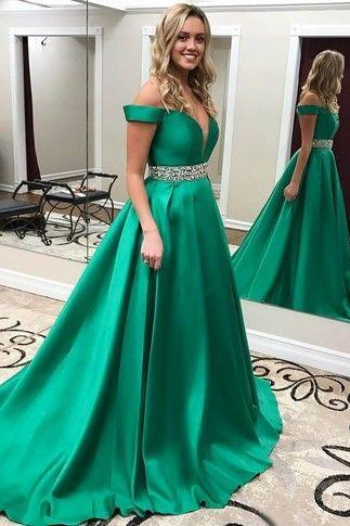 Off Shoulder Satin Prom Dresses Beading Waist Green Evening Dresses