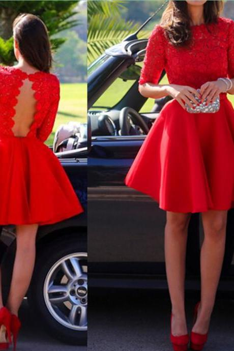 Short Prom dresses, Red Prom dresses, Lace Prom Dress, Short Prom Gowns, Red Homecoming Dresses, Lace Homecoming Dresses