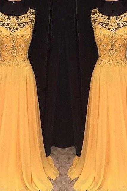 Prom dresses, Yellow Prom dresses 2016, Long Yellow Prom Dress, Yellow Chiffon Long Prom Dress, Yellow Evening Dress