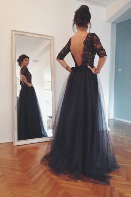 Lace Tulle Prom Dresses, Floor Length Prom Dresses, Backless Prom Dresses, A Line Prom Dresses, Charming Evening Dresses