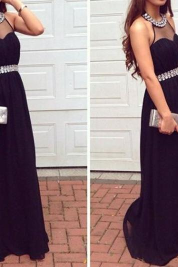 Black Prom Dresses, Halter Neckline Prom Dresses, Black Prom Dress, Halter Neckline Black Prom Dress, Black Halter Neckline Evening Dresses