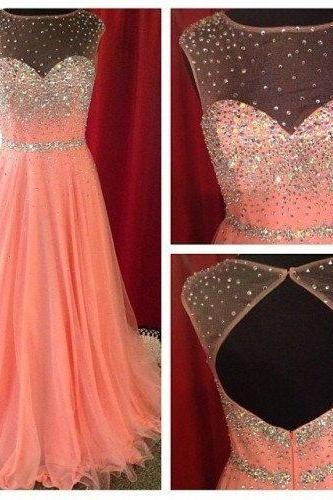 Prom Dresses, Backless Coral Prom Dresses, Blush Pink Prom Dresses, Halter Neckline Coral Prom Dress, Blush Pink Halter Neckline Evening Dresses