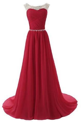 Hot Floor Length Prom Dresses With Beadings, Prom Dresses 2016, Prom Formal Gown