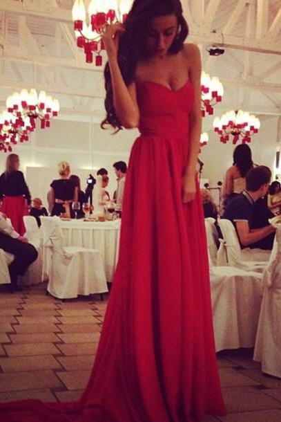 Hot Floor Length Red Prom Dresses, Sweetheart Sweep Train Chiffon Prom Dresses 2016, Prom Formal Gown
