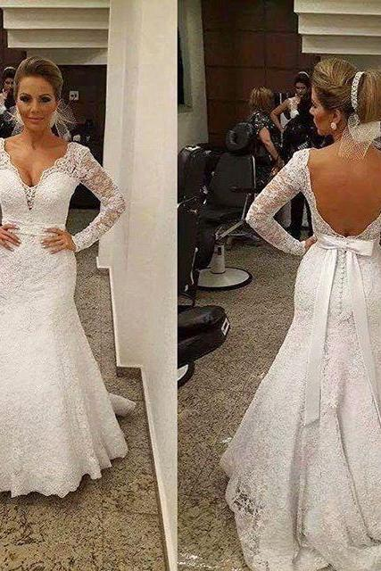 Lace Plunge V Long Mesh Sleeves Floor Length Trumpet Wedding Dress Featuring Bow Accent Open Back