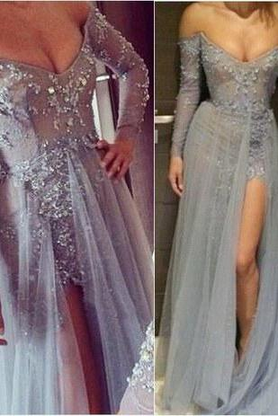 Charming Prom Dress,Off the Shoulder Prom Dress,A-Line Prom Dress,Appliques Prom Dress,Long-Sleeves Prom Dress