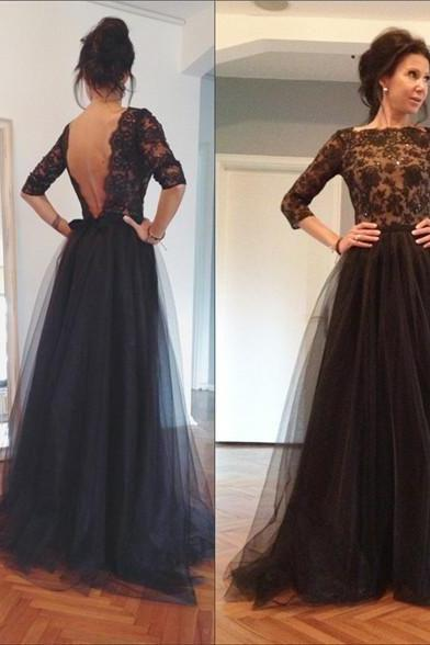 Charming Prom Dress,Tulle Prom Dress,Half-Sleeves Prom Dress,Appliques Prom Dress,Backless Prom Dress