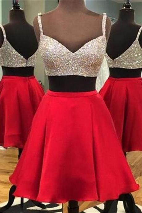 Homecoming Dress, Homecoming Dresses,Two piece Homecoming Dress ,Spaghetti Straps Homecoming Dress