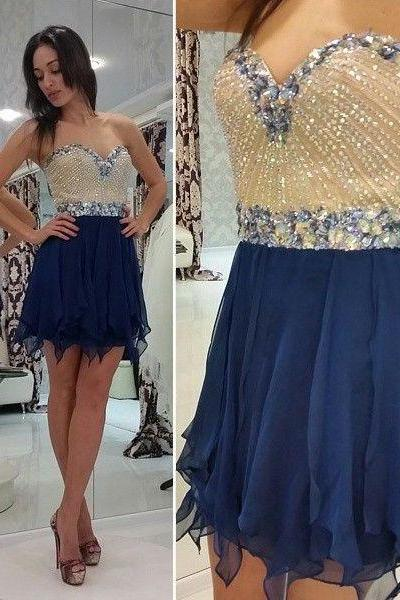 Sweetheart Beaded-Bodice Short Prom Dress ,Homecoming Dress for Juniors,Evening Gowns