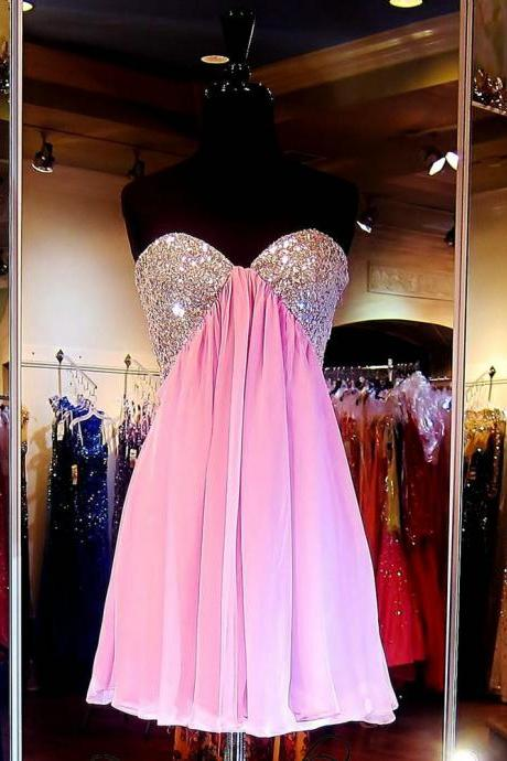 Custom Pink Homecoming Dress,Strapless Homecoming Dress,Chiffon Mini Homecoming Dress,Homecoming Dresses