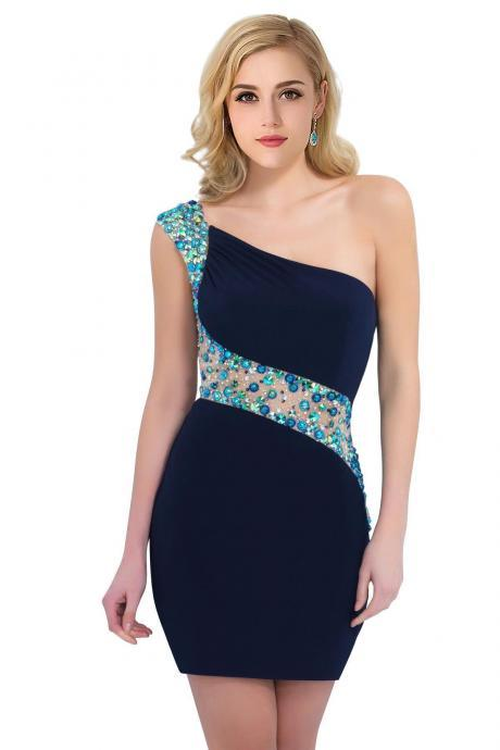 Sexy Mini Homecoming Dresses, Sheath Homecoming Dresses, One Shoulder Beaded Cocktail Dresses,Homecoming Dress
