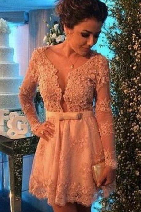 Lace Applique Long Sleeves Homecoming Dresses , Deep V neck Sexy Dresses,Cocktail Homecoming Dress