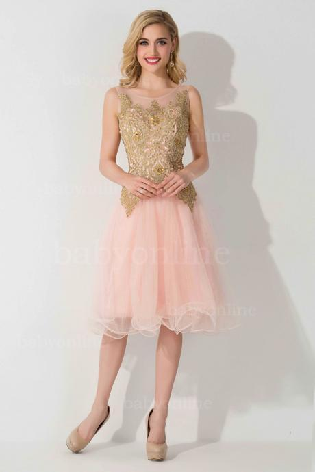Sheer Lace Homecoming Dress, Applique Homcoming Dress,Knee Length Party Dresses
