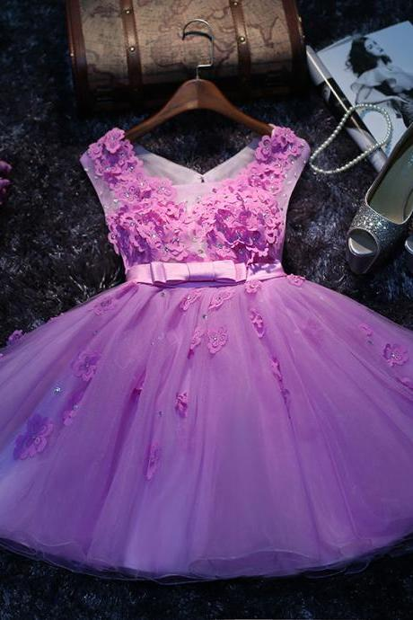 Lovely SleevelessHomecoming Dress, Appliques Homecoming Dresses,Mini Homecoming Dress