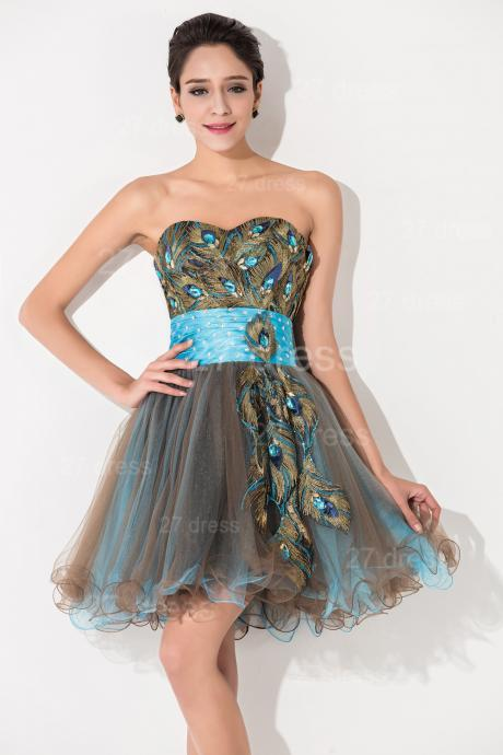 Modern Sweetheart Homecoming Dress,Sleeveless Homecoming Dress ,Peacock beading Homecoming Dresses