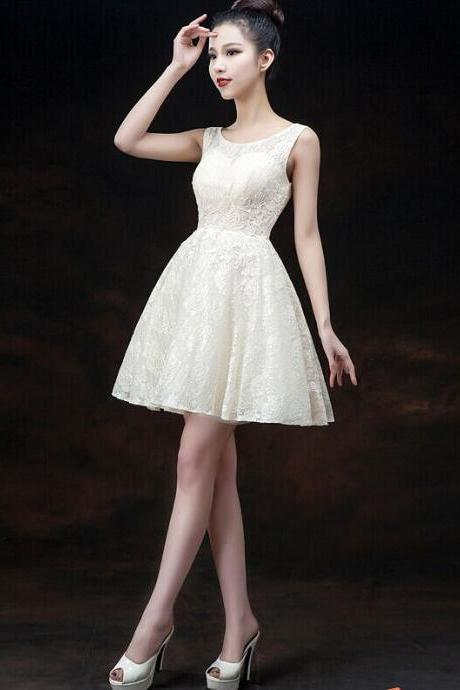 Modern IllusionHomecoming Dress, Sleeveless Homecoming Dress,Short Homecoming Dresses Lace-up With Appliques