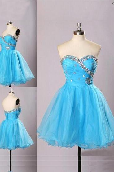 Elegant A-line Homecoming Dress,Mini Sleeveless Organza Homecoming Dress,Blue Honecoming Dress