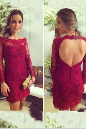 Column Boat Neck Homecoming Dress,Long Sleeves Backless Homecoming Dress,Red Lace Dresses