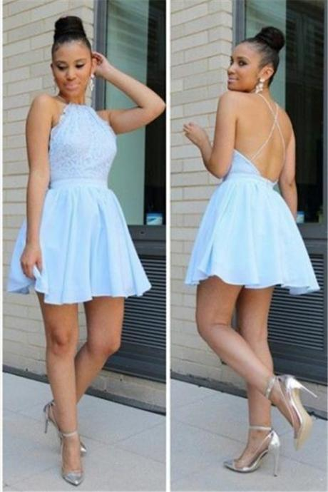 Halter A-line Homecoming Dresses,Backless Lace Chiffon Homecoming Dress,Blue Mini Homecoming Dress