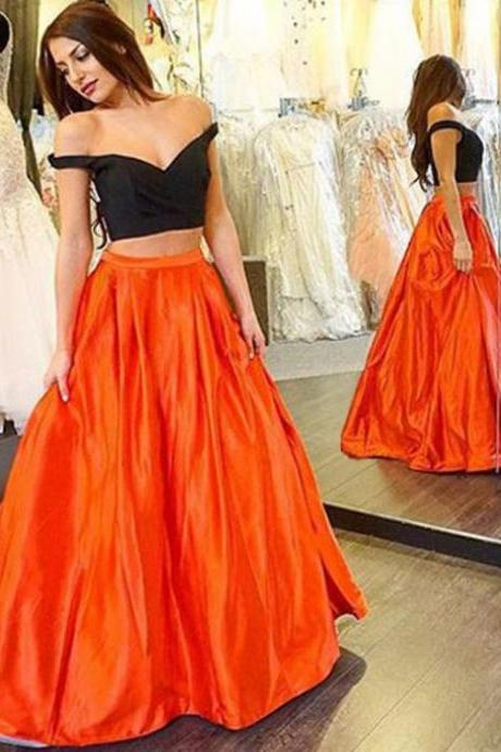 Two Piece Off Shoulder Prom Dress,Satin Prom Dresses
