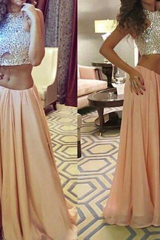 Sparking Sequins Prom Dress,Two Piece Prom Dresses