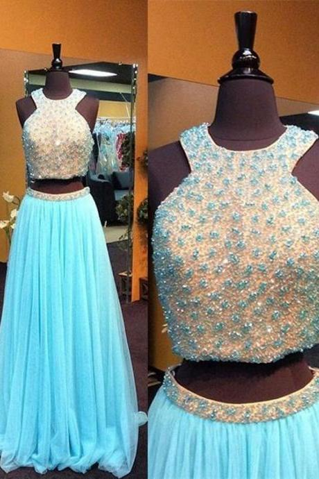 Two Piece Beadings Prom Dress,Blue Prom Dresses