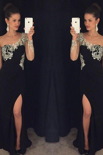 One Sleeve Sequin Slit Prom Dress,Black Prom Dresses