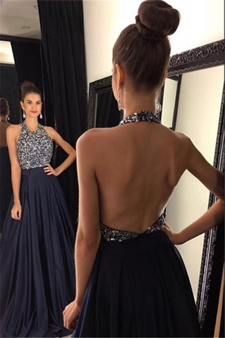 A-Line Halter Prom Dress, Long Prom Dresses