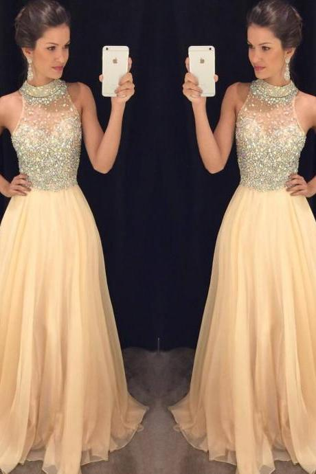 High Neck Beaded Prom Dress,Light Champagne Prom Dresses