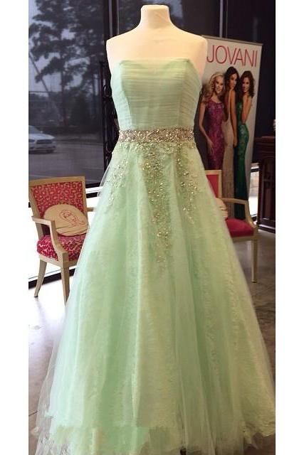 Strapless A-Line Prom Dress,Green Prom Dresses