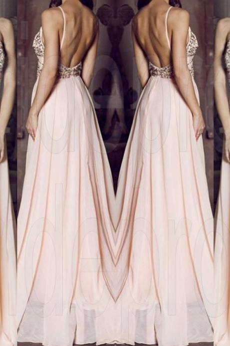 Halter Pink Beaded Prom Dress,Long Beading Prom Dresses