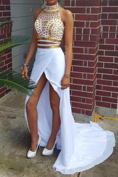 Gold Crystal Two Piece Prom Dress