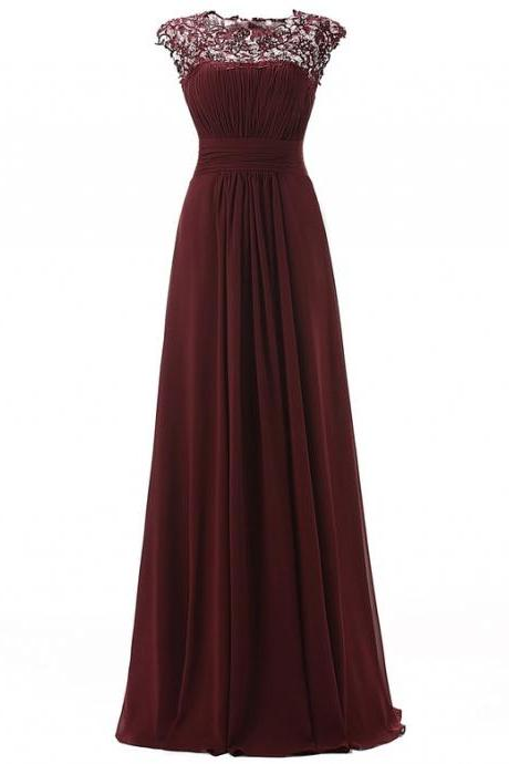 Cap Sleeve Prom Dress,Burgundy Prom Dresses,Long Evening Dress